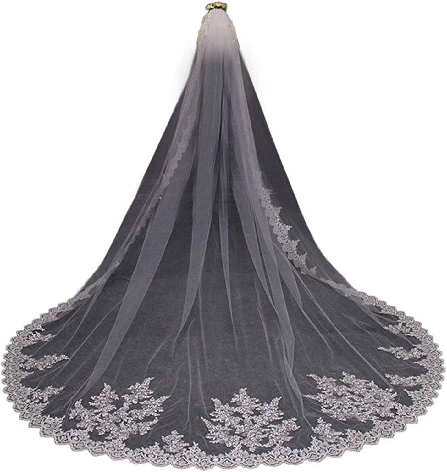 Fenghuavip Cathedral Veil 1T Lace Sequins Wedding Veil Ivory for Bride with Comb