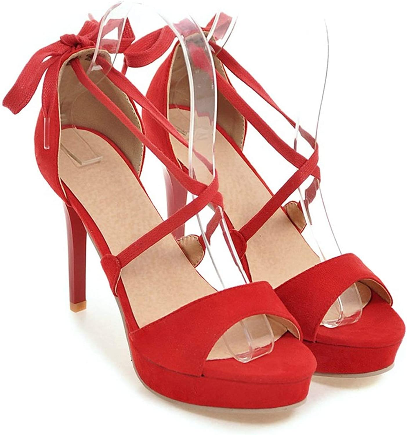 Summer Spring Platform shoes Thin Heels Lace Up Red color Extreme High Heels Elegant Women Sandals