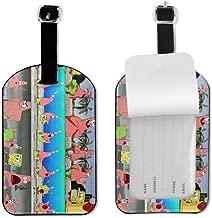 4 Packs Luggage Tags,Spongebob Travel ID Luggage Tag PU Leather Women And Men Handbag Tag