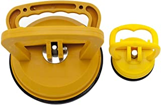 "DGQ Plastic Suction Cup Dent Puller 4-7/8"" & 2-1/4"" Bodywork Panel Remover Tool Handle Glass Repair Kit,Yellow Color"