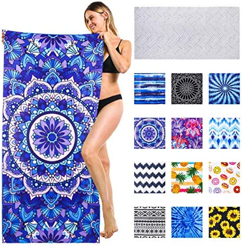 Beach Towel Thick Microfiber Blue Mandala Sand Resistant Free Proof Sandless Fast Quick Dry product image