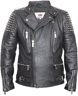 Mans Uomo Vera Pelle Cappotto Giacca Militare Tunica Rock Goth Steampunk Marrone