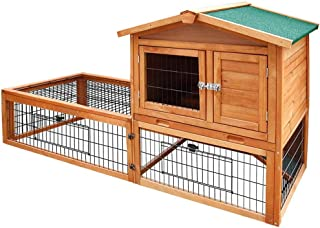 Rabbit Hutch Wooden Chicken Coop Guinea Pig Ferret Cage Hen House 2 Storey Tray