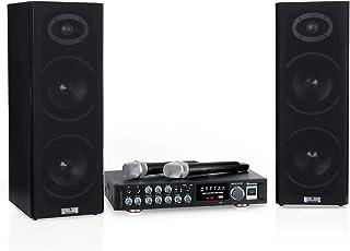 auna Karaoke Star 4 karaokeset - karaokesysteem, karaokesysteem, 2x80W max., Bluetooth, USB, line-in, draadloze microfoon...