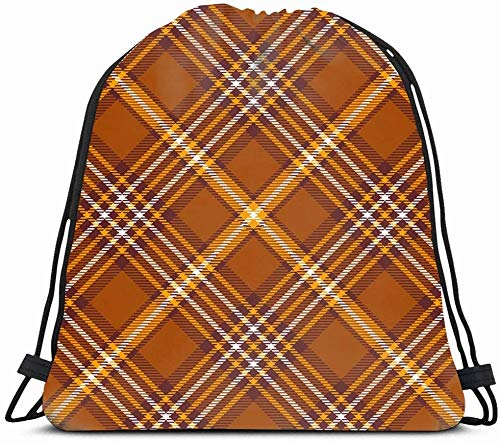 DHNKW Drawstring Backpack String Bag 14X16 Brown Border Tartan Plaid Pattern Traditional Checkered Beauty Orange Check Chequer Pyjamas Diagonal Flannel Sport Gym Sackpack Hiking Yoga Travel Beach