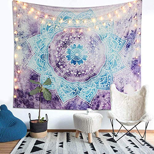 Alynsehom Tapestry Mandala Wall Hanging Decor Purple and Grey Indian Hippie Bohemian Flower Gypsy Decoration Beach Blanket Dorm Room Bed Sheets