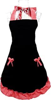 Hyzrz Cute Black Red Retro Kitchen Restaurant Flirty Cooking Aprons for Women Girls Waitress with Pockets Apron for Gift
