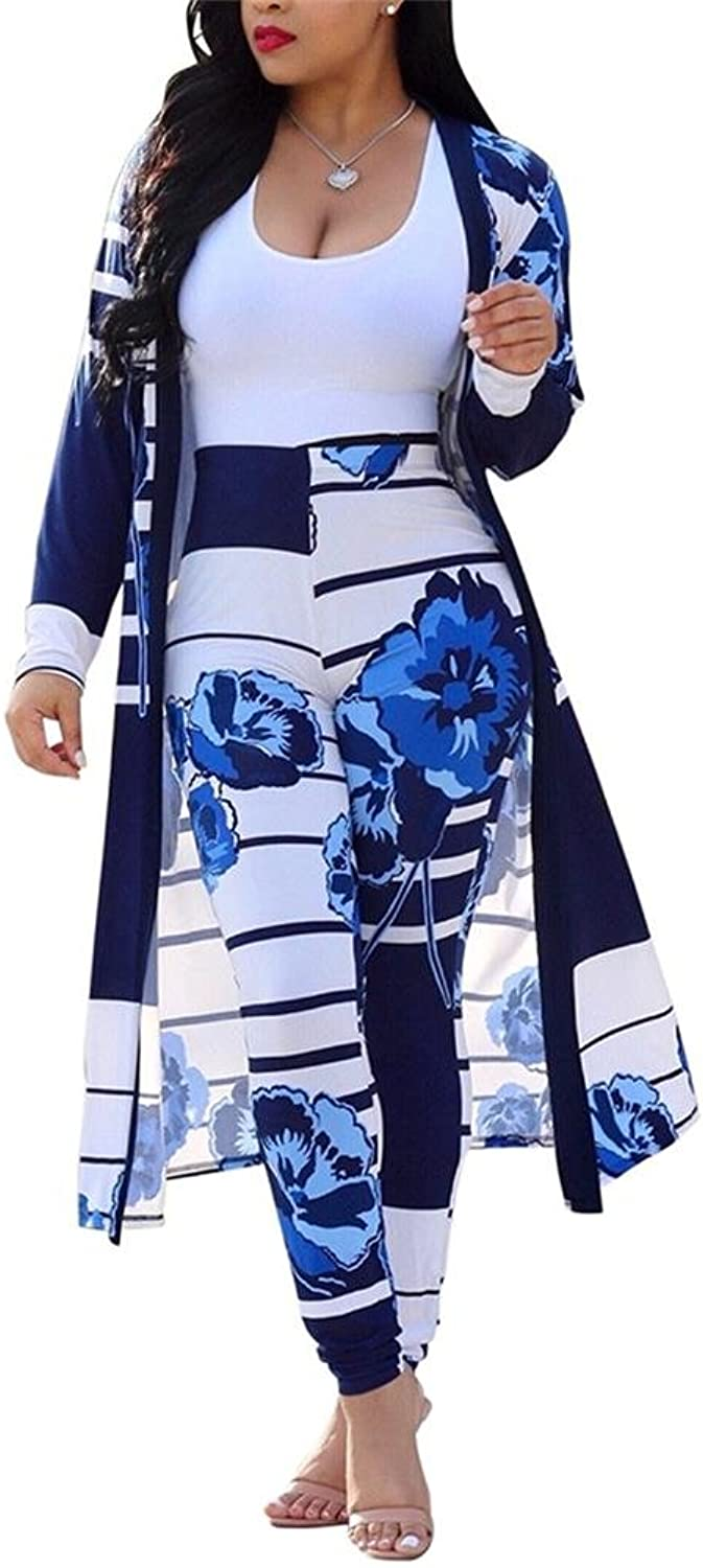VLUNT Womens Floral Print Long Sleeve Cardigan Cover up Long Pants 2 Piece Outfits Set