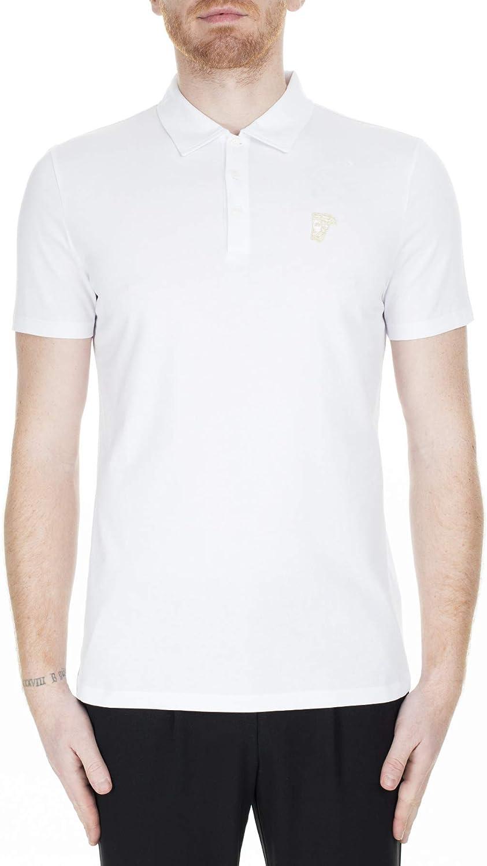 Versace Jeans Couture White Cotton Macro Logo Pique Polo Shirt for Mens