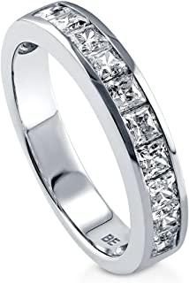 BERRICLE Rhodium Plated Sterling Silver Channel Set Princess Cut Cubic Zirconia CZ Anniversary Wedding Half Eternity Band Ring