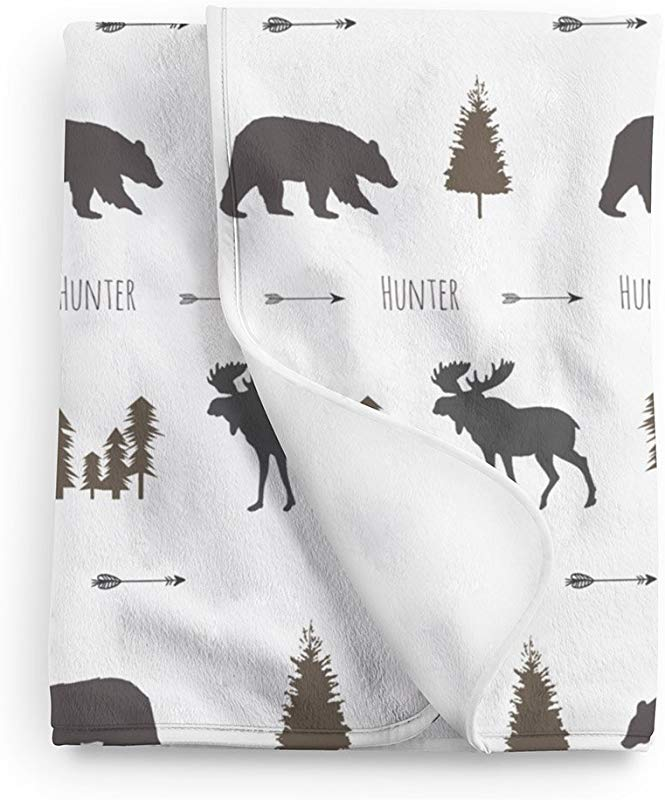 Lovable Gift Co Woodland Animal Moose And Bear Personalized Baby Name Blanket