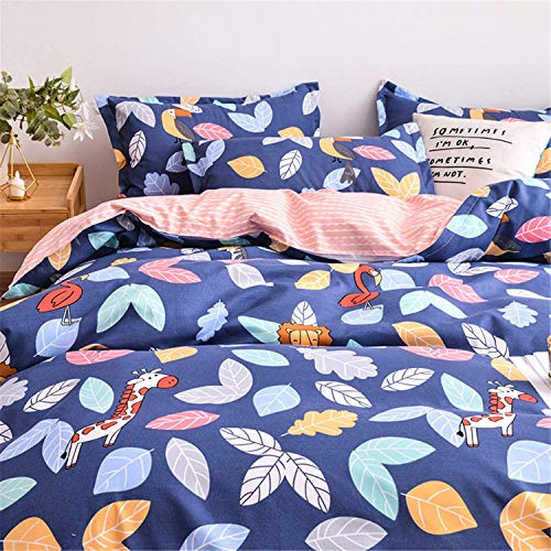 BBSET Cute Cartoon Duvet Cover Queen,Colorful Leaves Pattern with Animals on Navy Blue Reversible Peach Striped Soft Microfiber Bedding Set