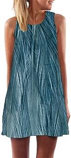 TOPUNDER Loose Summer Vintage Sleeveless 3D Floral Print Dress for Women Bohe Tank Short Mini Dress