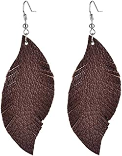 Genuine Leather Feather Leaf Earring for Women Sparkle Suede Real Leather Large Pierced Earrings