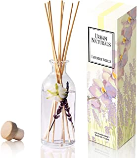 Urban Naturals Lavender Vanilla Reed Diffuser Set | Room Scent Infuser with Real Lavender & Natural Flowers | Soothing Scent Makes a Great Housewarming Gift | Great Idea