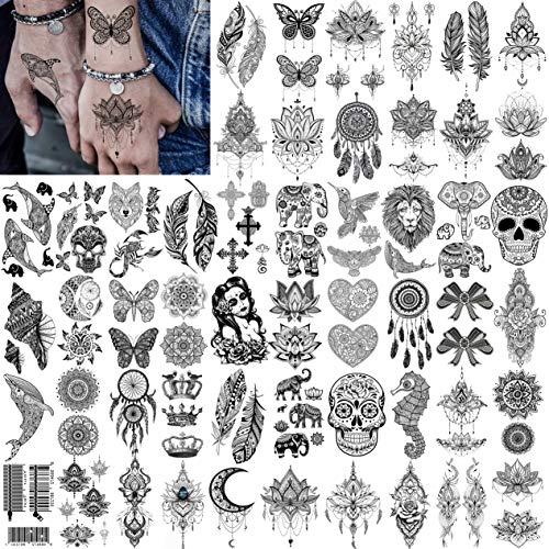 52 Blatt Geweir Schwarz Temporäre Tattoos Frauen Hals, klein Gesicht Böhmen Fake Tattoo Aufkleber Feder Sexy Schmetterling Spitze Tribal Tatoos Lotus Schädel Mond Blumen mädchen Tatoo Sets Farbe Haut