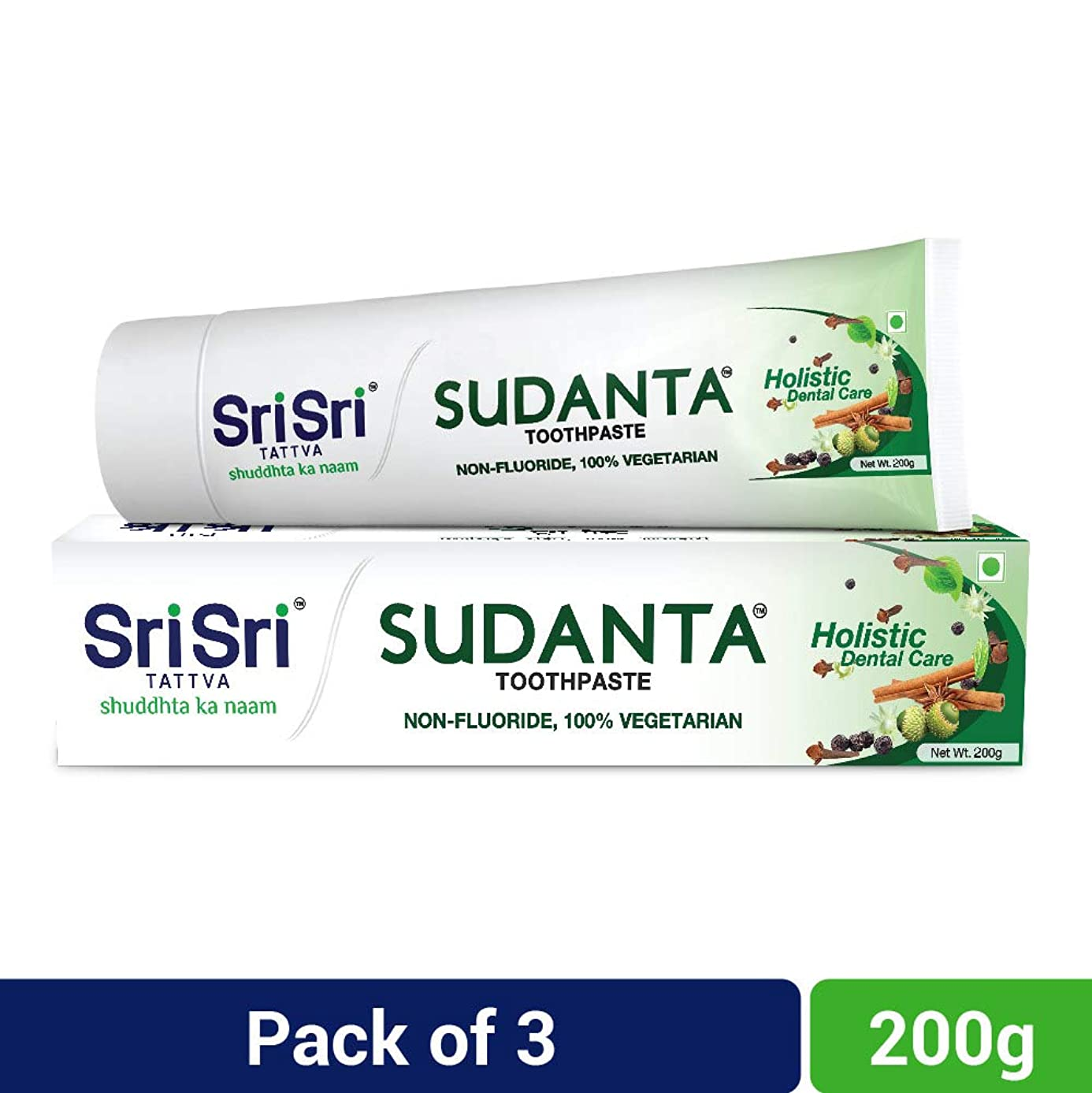 事前に学生設計図Sri Sri Tattva Sudanta Toothpaste, 600gm (200gm x Pack of 3)