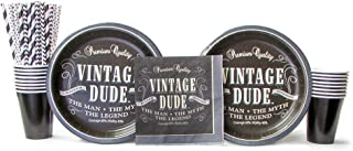 Vintage Dude Party Supplies Pack for 16 Guests | The Man the Myth the Legend | Includes Straws, 16 Dinner Plates, 16 Luncheon Napkins, and 16 Cups (Bundle for 16) Black and White Party Pack