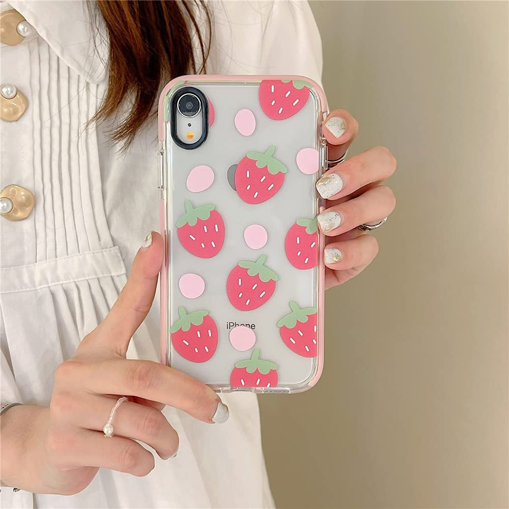 Cute Strawberry Clear Pink Edge Phone Case for iPhone XR Fruit Elements Protective Skin Soft Built-in Bumper Cover for iPhone XR