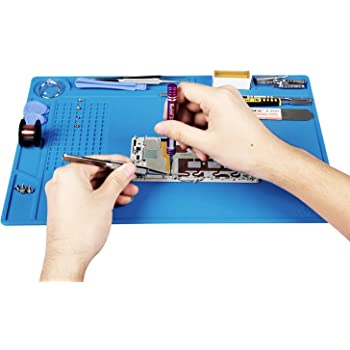 Kaisi Heat Insulation Silicone Repair Mat with Scale Ruler and Screw Position for Soldering Iron, Phone and Computer Repair Size: 13.7 x 9.8 Inches