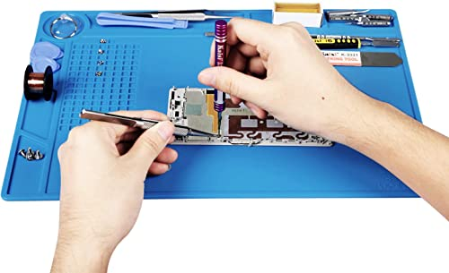Kaisi Heat Insulation Silicone Repair Mat with Scale Ruler and Screw Position for Soldering Iron, Phone and Computer ...