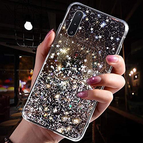 Herbests Kompatibel mit Samsung Galaxy Note 10 Hülle Transparent TPU Silikon Handyhülle Glänzend Glitzer Sterne Strass Diamant Clear Durchsichtige Case Tasche Klar Slim Stoßfest Schutzhülle,Schwarz