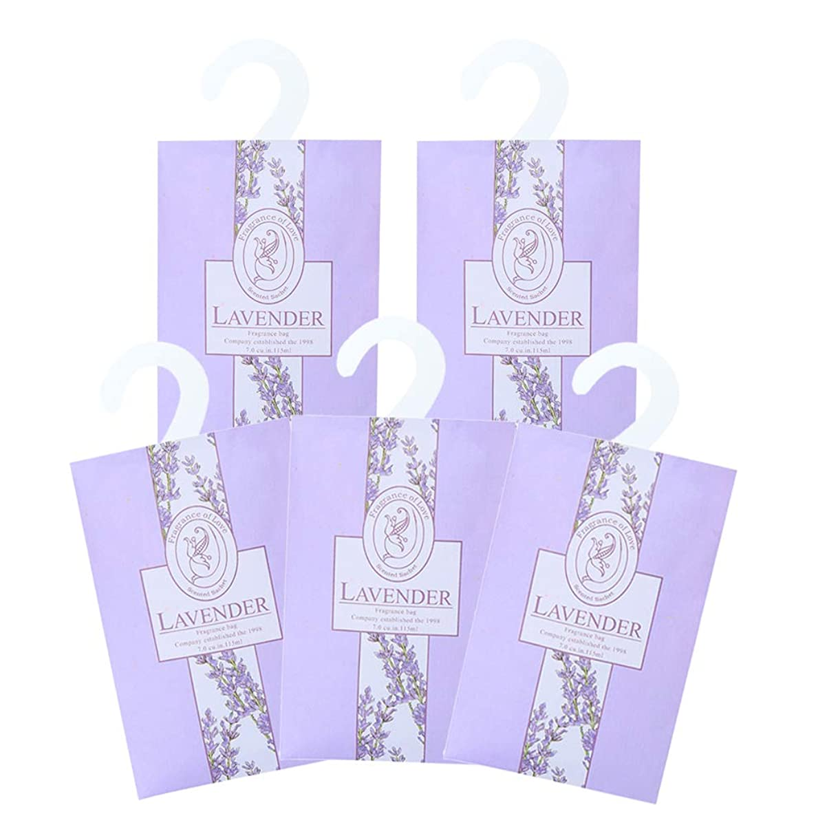 ポスターハンディヒールTINKSKY 香り袋 サシェ 5枚セット 花の香り ルームフレグランス 車内用 玄関用 部屋用 着物用 芳香剤(ラベンダー)