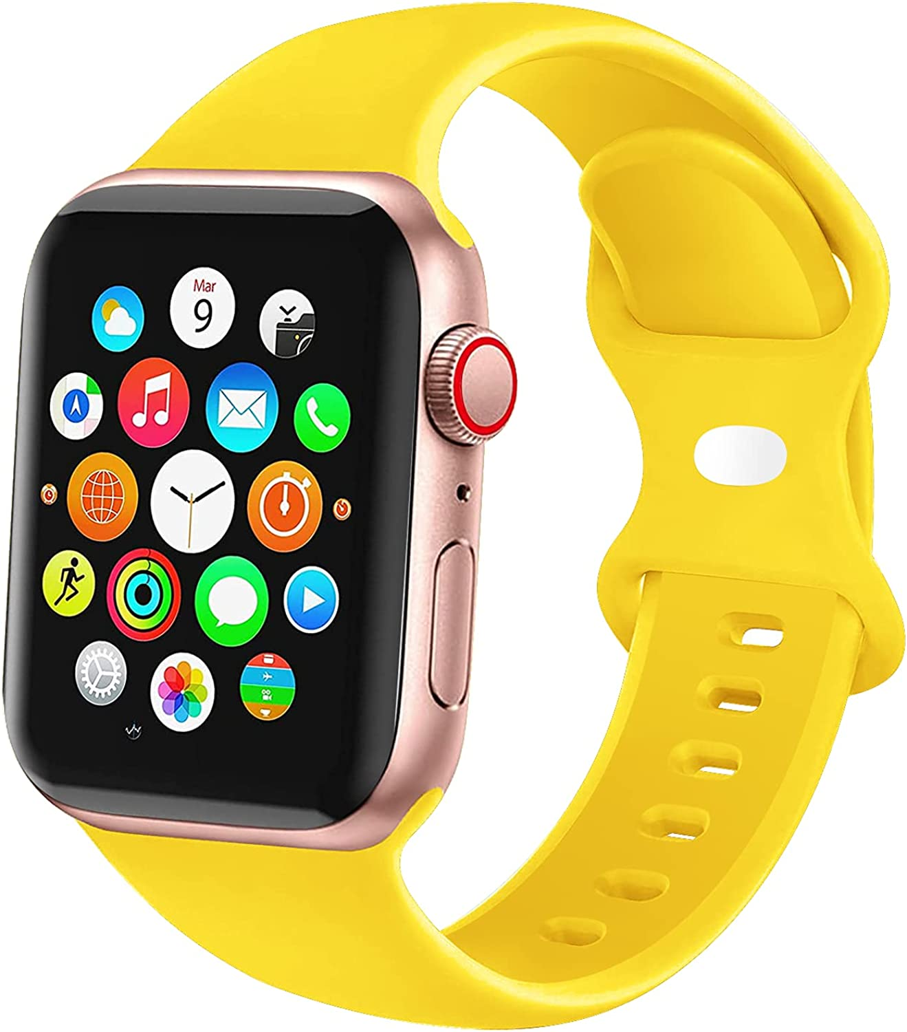 JXGM Compatible with Apple Watch Bands 38mm 40mm 41mm 42mm 44mm 45mm, Soft Silicone Sport Wristbands Replacement Strap for iWatch Series SE 7 6 5 4 3 2 1 Sport Edition for Women Men