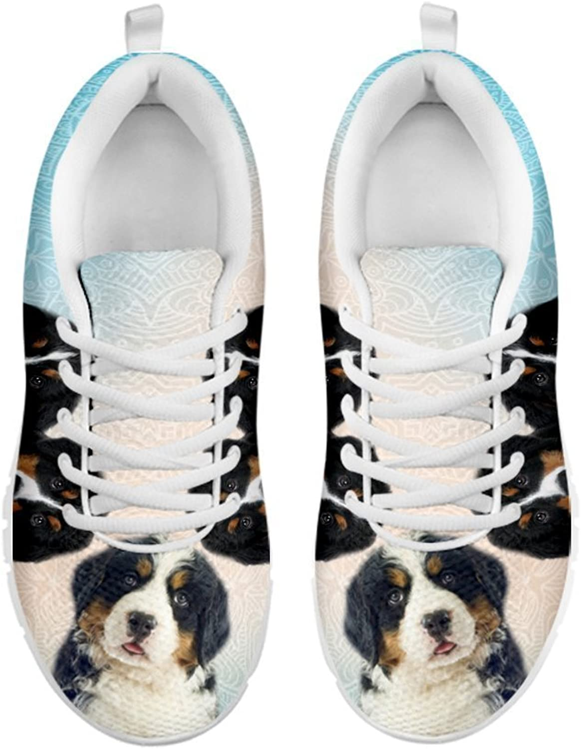 Pet By You Amazing Three Bernese Mountain Dog 3D Printed Sneakers, Light Weight Sneakers for Women, Breathable Jogging Running Gym shoes, Women Sneakers - US Sizes 5-12.