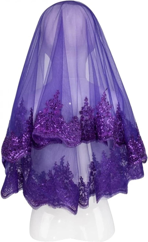 HAQTXI Short Bridal Veil Set Night Wedding Ceremony Accessory Tulle Wire Break Lace Shimmer Claret Red Purple Green Sax Blue Fuchsia (Color : Purple, Item Length : 150cm)