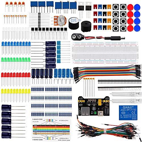 Elektronisches Komponenten-Super-Kit mit Überbrückungsdrähten, Widerstand, Transistor, RGB-Kondensator, LED-Summerschalter, Potentiometer für Arduino