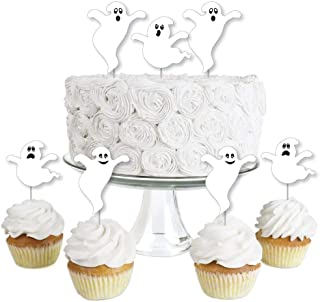 Big Dot of Happiness Spooky Ghost - Dessert Cupcake Toppers - Halloween Party Clear Treat Picks - Set of 24