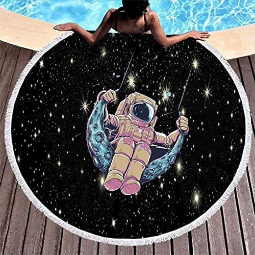 Rtisandu Toallas de playa redondas, astronauta espacial, toalla de baño, esterilla de yoga, unisex, color blanco, talla única