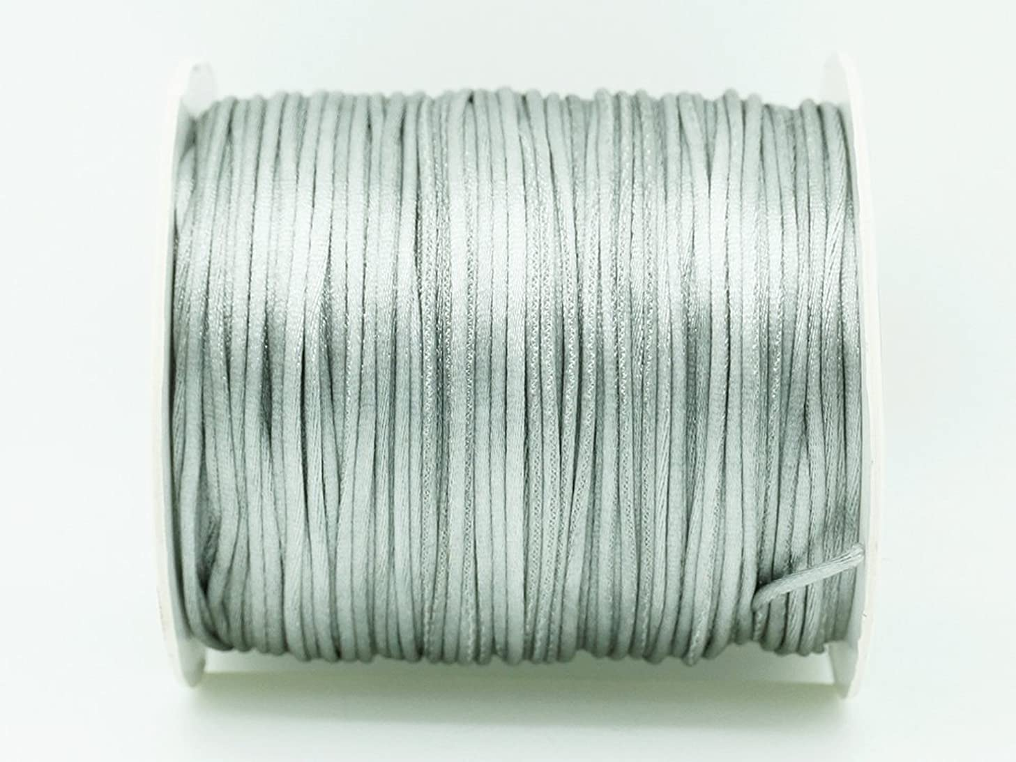 GREY 1mm Bugtail Satin Cord Shamballa Macrame Beading Nylon Kumihimo String (210ft Spool)