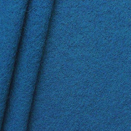 STOFFKONTOR Walkloden Stoff, Wollstoff Meterware aus 100% Wolle, Kobalt-Blau