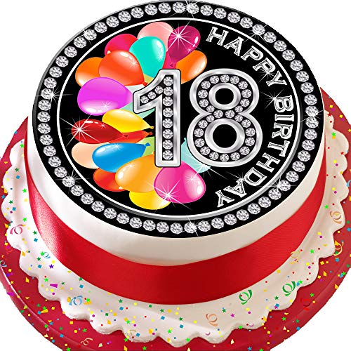vorgeschnittenen Essbarer Zuckerguss Cake Topper, 19,1cm rund 18. Geburtstag 18bunte Luftballons mit Diamant effekt Grenze