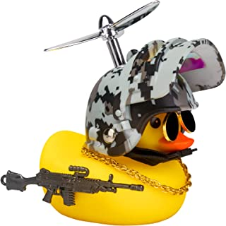 wonuu Rubber Yellow Duck Toy Car Ornaments Cool Duck Car Dashboard Decorations with Propeller Helmet Sunglasses (Digital C...