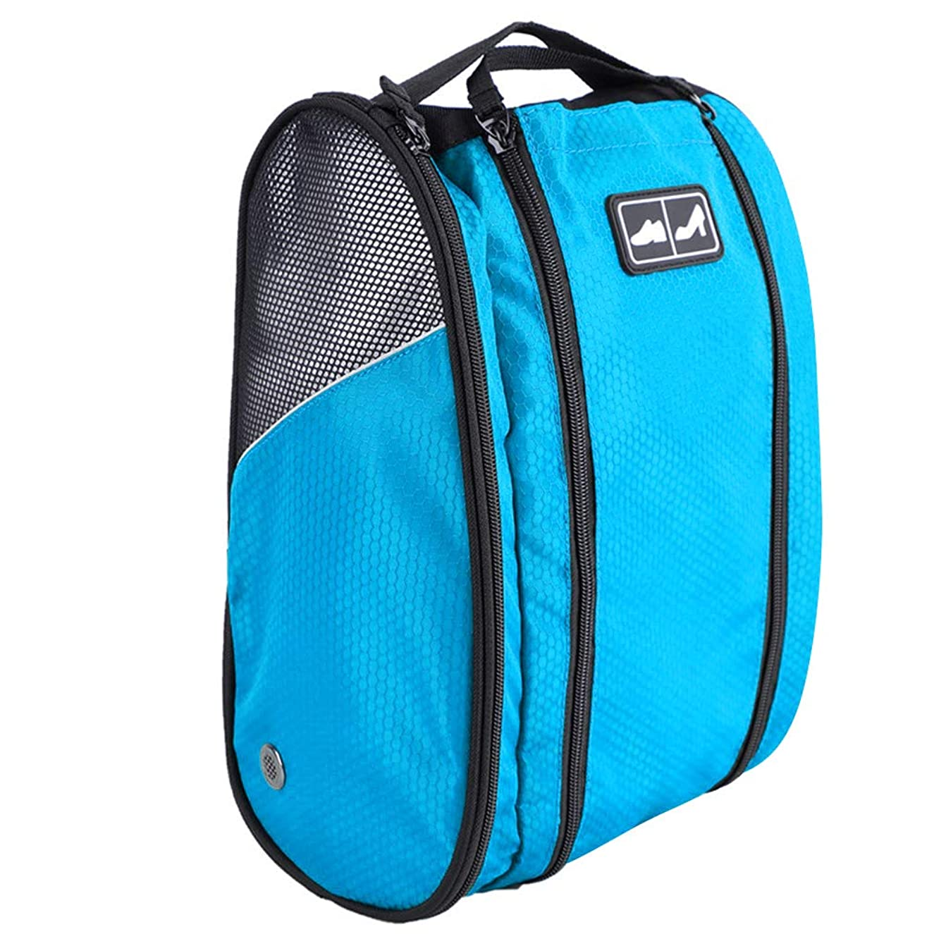 Golf Shoe Bag Travel Sport Gym Yoqa Sock Organizer Odor Resistant Large Zipper Space Shoe's Bag for Men and Women (blue)