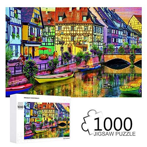 Promini Educa Borras Colmar Kanal In Frankreich 1000 Stück Puzzles aus Holz Tägliche Puzzlespiele für Erwachsene und Kinder
