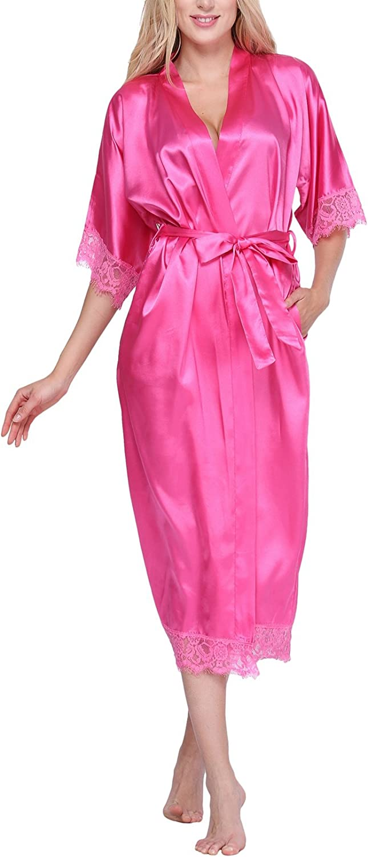 Original Kimono Women's Solidcolord Long Kimono Robe Loungewear with Lace Trim