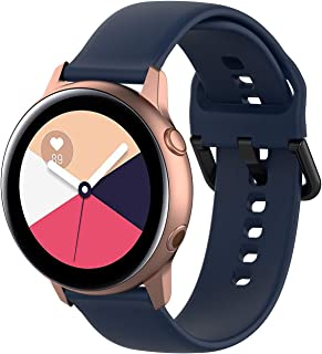 Classic Silicone Replacement Band for Samsung Galaxy Watch Active 1 and Active 2 Two size bands included; Small & Large (B...
