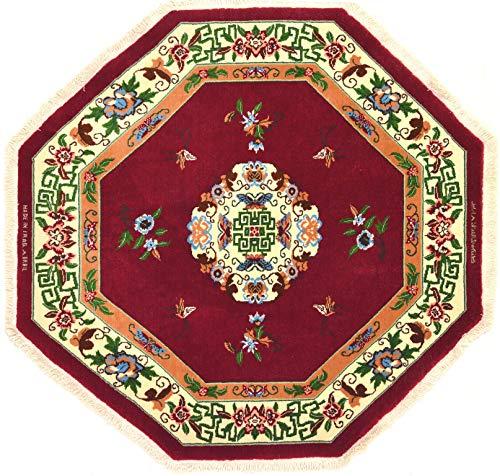 Orientalischer Teppich ERBIL achteckig Durchmesser 155 cm Rot geknotet mit Original
