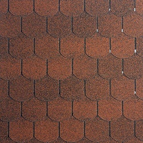 Bitumenschindeln Biberschwanzschindeln rot, 3 m², Dachbelag, Dacheindeckung Gartenhaus Dachschindeln