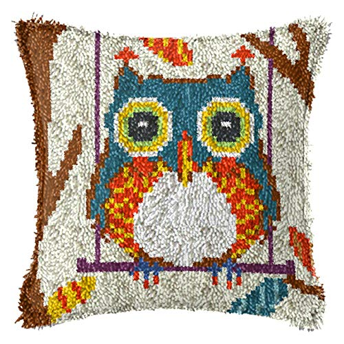 Latch Hook Kits, DIY Throw Pillow Cover with Preprinted Pattern Owls Crafts for Home Decor, 17'' X 17'',F