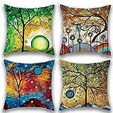 Gspirit 4 Stück Kissenbezug Abstrakte Ölgemälde Bäume Dekorative Kissenhülle Baumwolle Leinen...