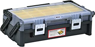 MEIJIA Portable Tool Storage Box,Organizers With Mental Latches,Black And Yellow 18