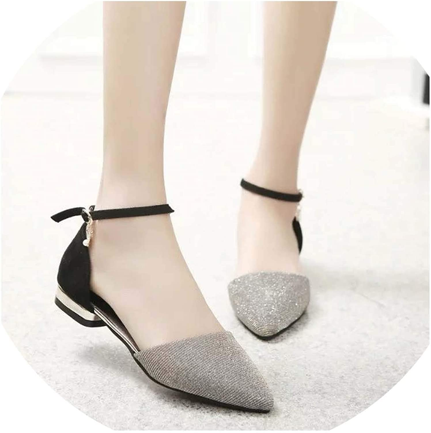 HuangKang Women Sandals Thick High Heel Ankle Strap Fashion Sandal Female Party shoes