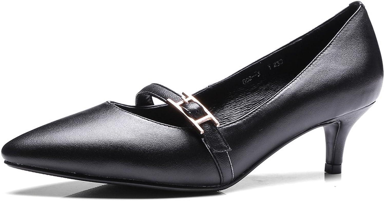 Nine Seven Genuine Leather Women's Pointed Toe Kitten Heel Comfortable Dressy Strap Handmade Classic Ladies Pumps