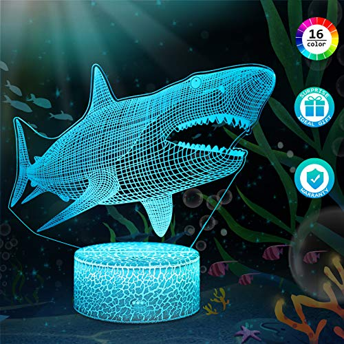 3D Hai Lampe LED Nachtlicht mit Fernbedienung, QiLiTd 16 Farben Wählbar Dimmbare Touch Schalter Nachtlampe Geburtstag Geschenk, Frohe Weihnachten Geschenke Für Mädchen Männer Frauen Kinder