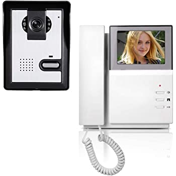AMOCAM Video Door Phone System, 4.3 Inches Clear LCD Monitor Wired Video Intercom Doorbell Kits, IR Night Vision Camera Door Intercom, Doorphone Telephone style for Home Improvement